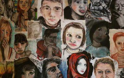 Portrait and hands breakdown, teenage class up