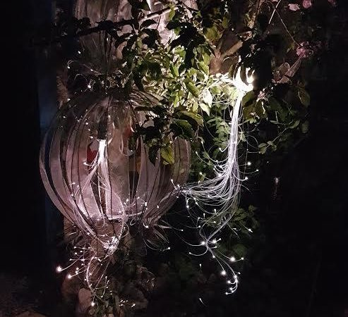 Fiber optics garden sculptures