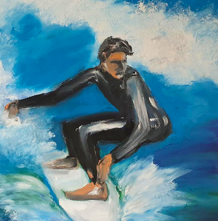 The Surfer - Seascape paintings by Ennis Art School