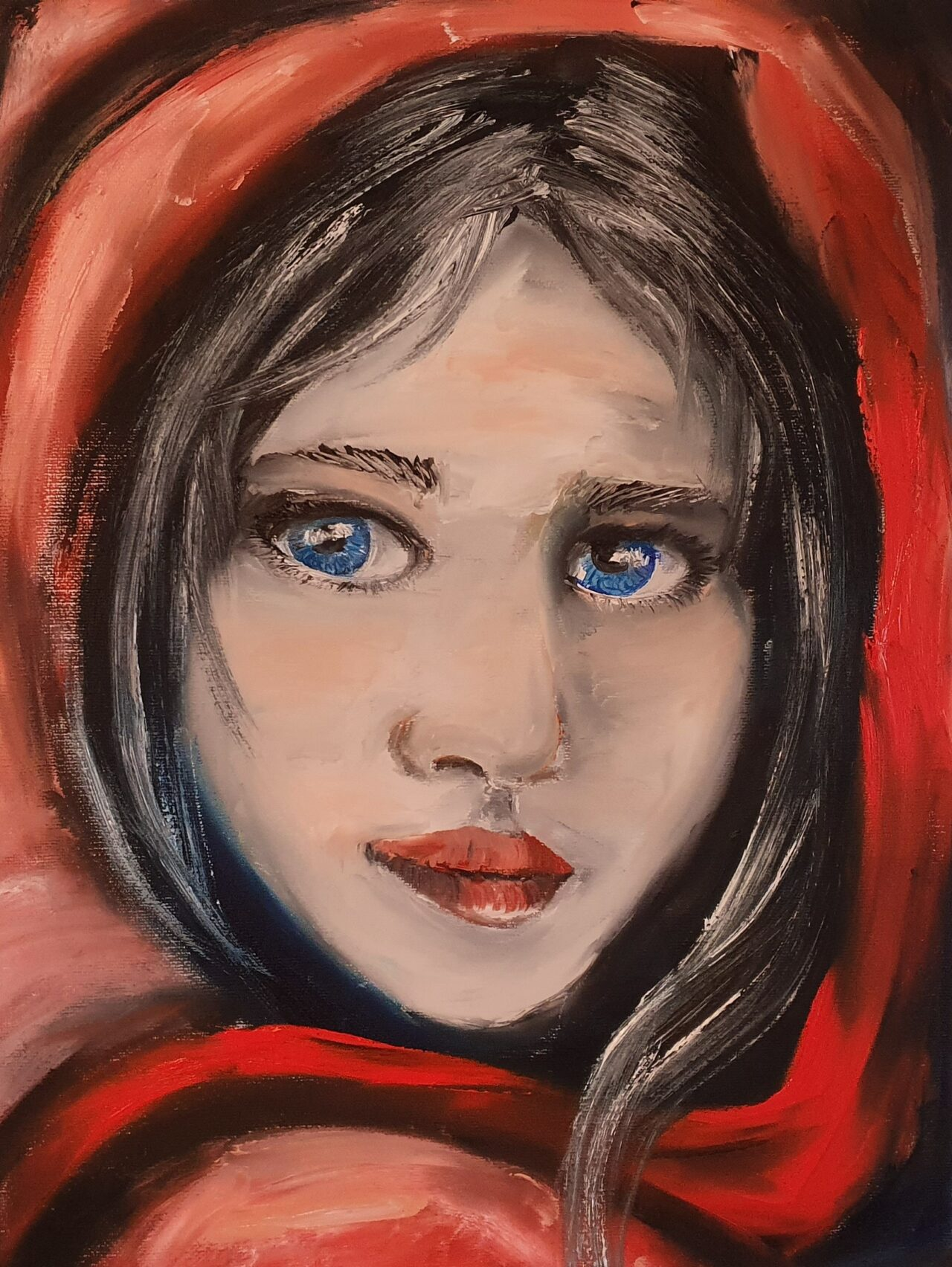 Portrait of Girl With A Red Scarf