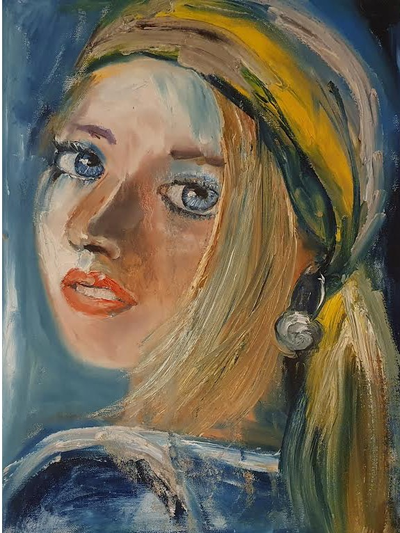 Portrait of a Young Woman with a Yellow Head Scarf - Ennis Art School